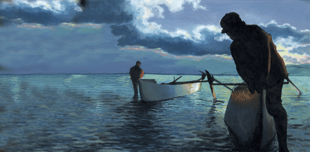 Painting of fishermen in blue water, Teach them to fish