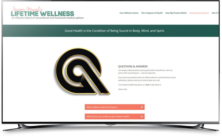 Susan Musal's Lifetime Wellness website home page