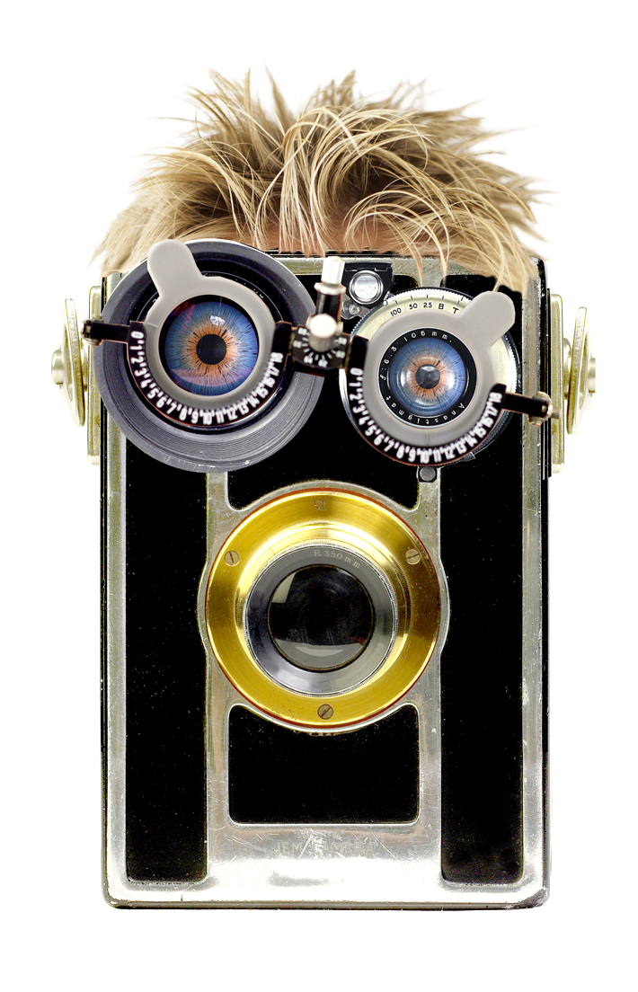 Optohead, a steam-punk avatar using camera body and opthamalogist lenses